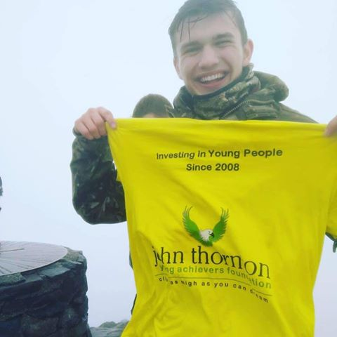 Robert at the summit of Snowdon with his JTYAF t-shirt