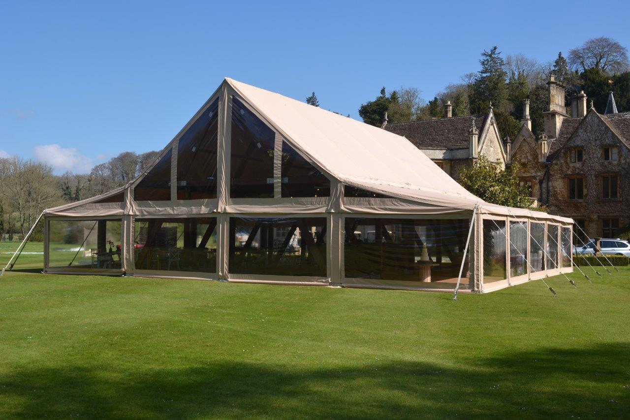 The new rustic design marquee which will be positioned in the usual location under the central flight line on the beach.