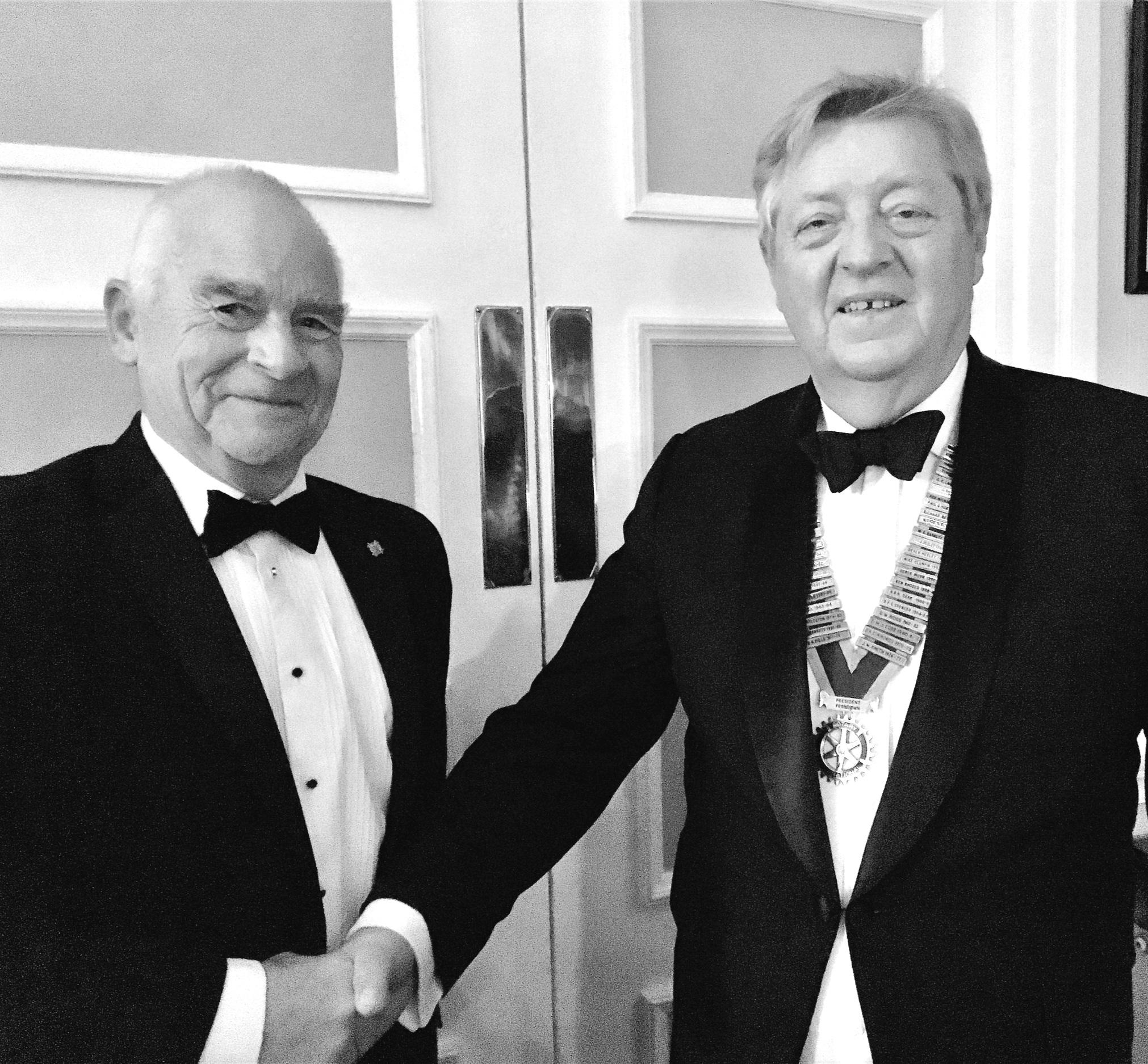 Pete Thornton left and Charlie Pellat President of Ferndown Rotary Club