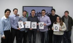 The Shiftgig staff celebrates reaching 5,000 users. They now have almost 250,000 users and expect to reach 1 million by the end of 2013.