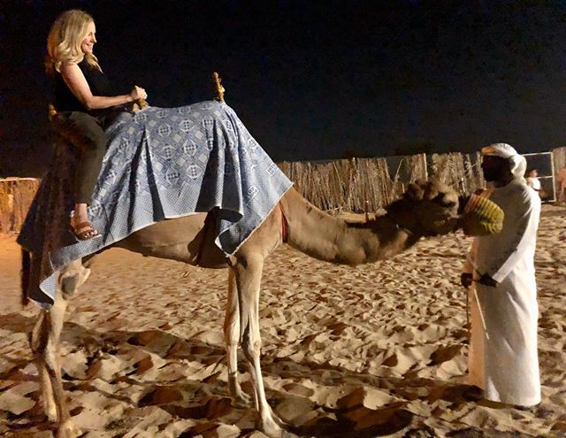 I'm on a camel. #Dubai  Truth? I felt very conflicted about taking this ride. Animal tourism is no joke, and while camels tend to fare better than others, I bet she wanted some Motrin for her poor old knees. I will probably make a different choice next time.
