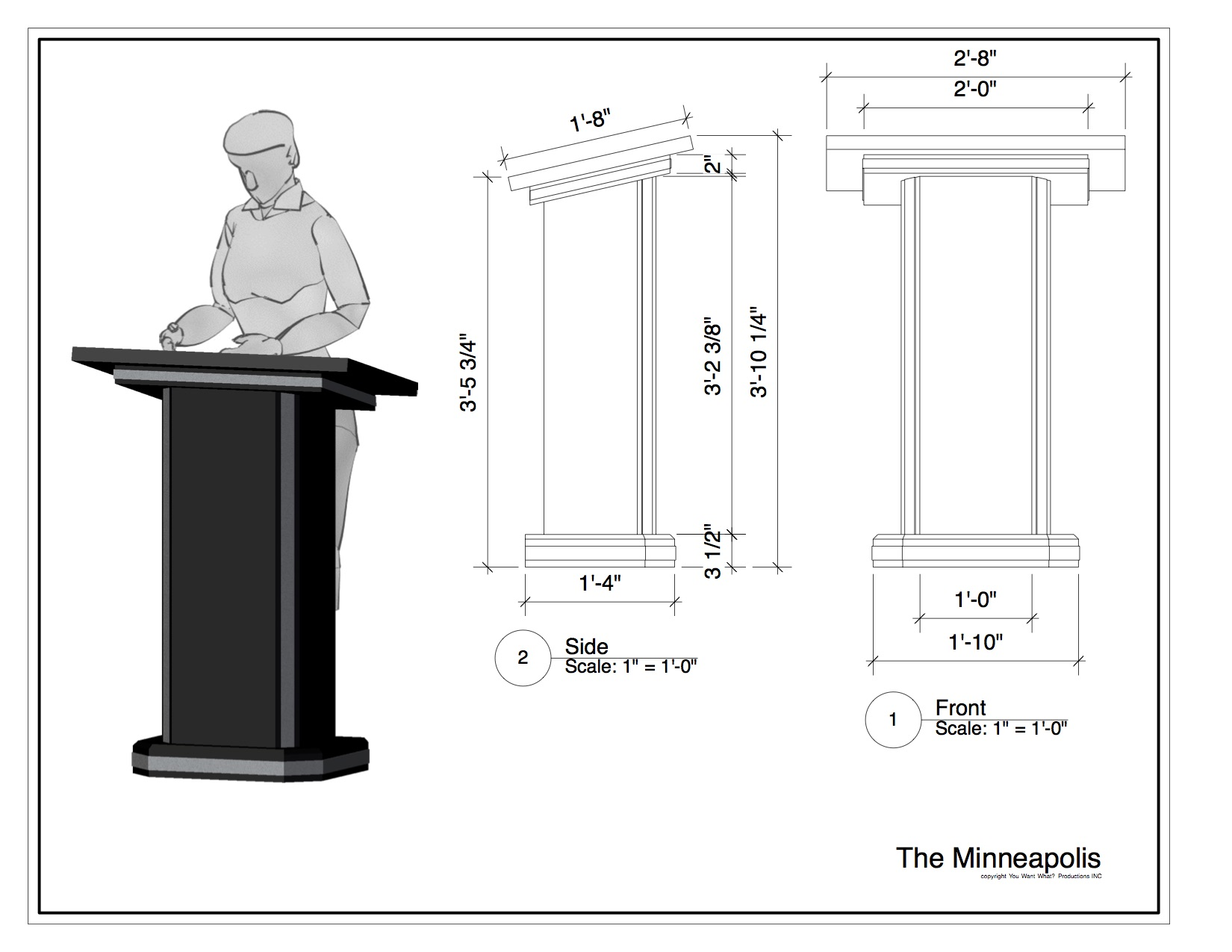 The Minneapolis rental podium - lectern by You Want What? Productions INC