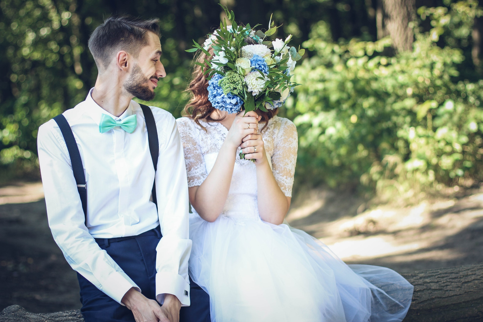 Real wedding moment candid photography bride and groom playful