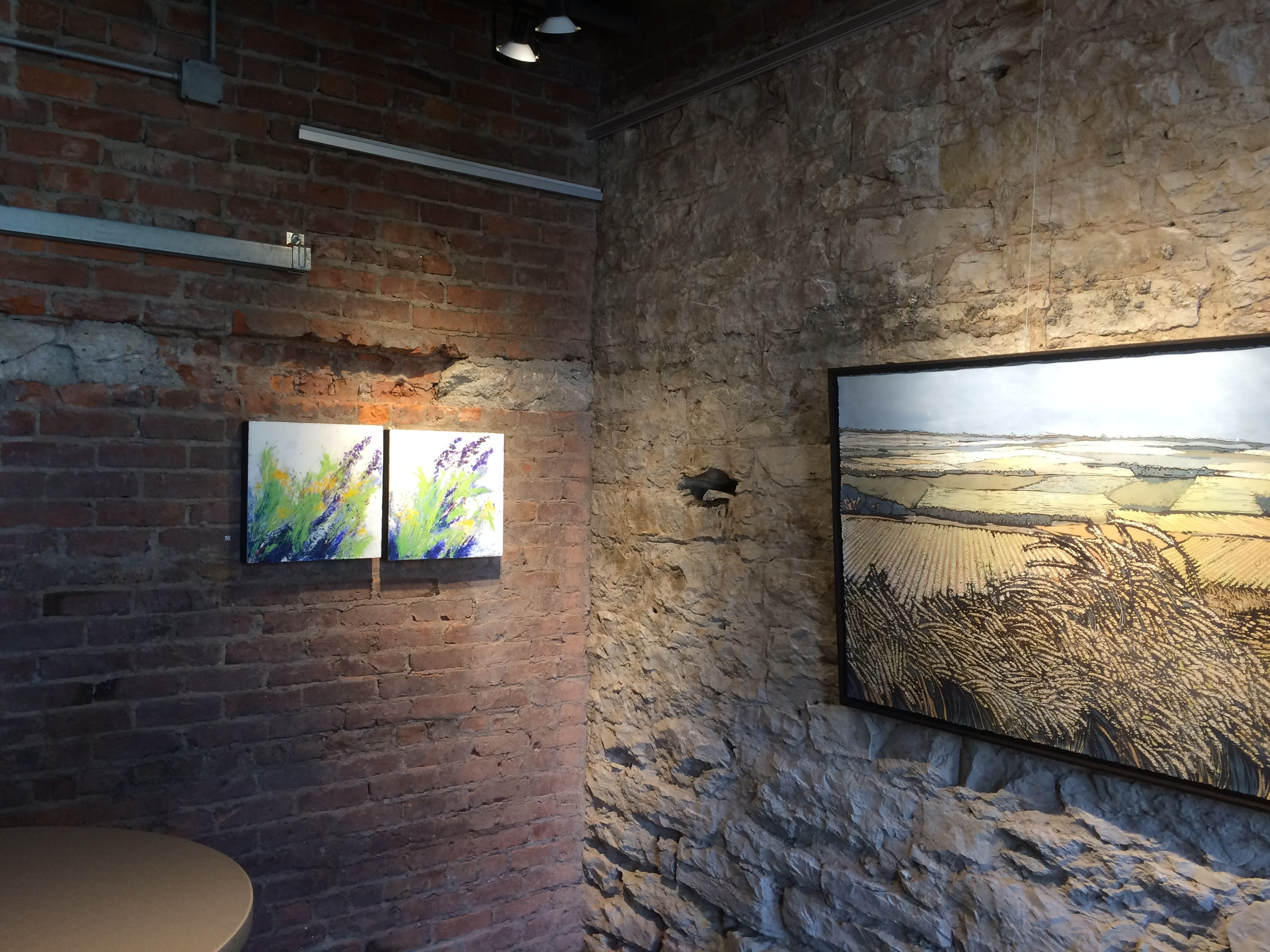 Wind Across the Sandbar #1 and #2 draw visitors' eyes into one Kris Allphin's batiks at the Fred Simon Gallery, Nebraska Arts Council.