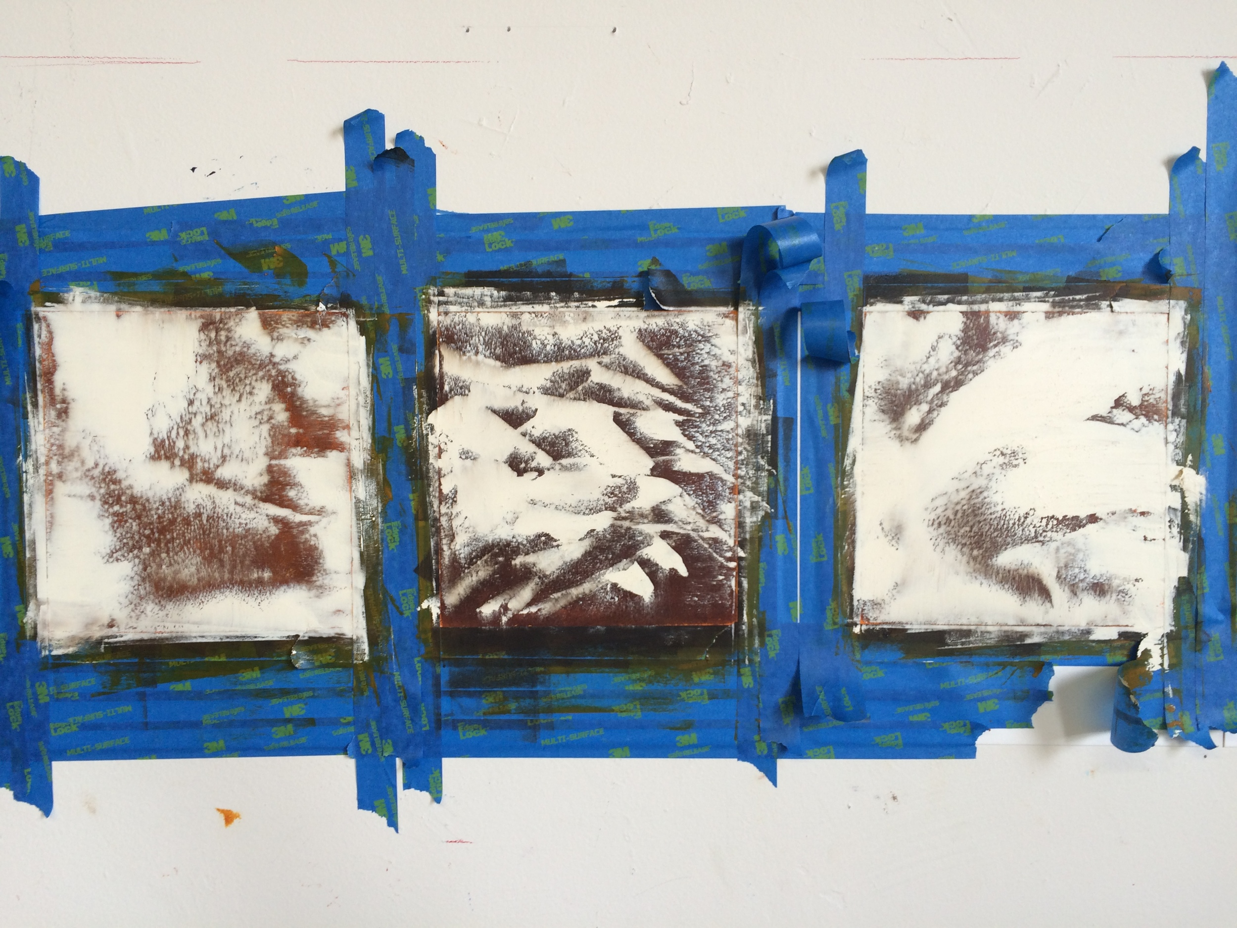 early layers of several paintings on paper