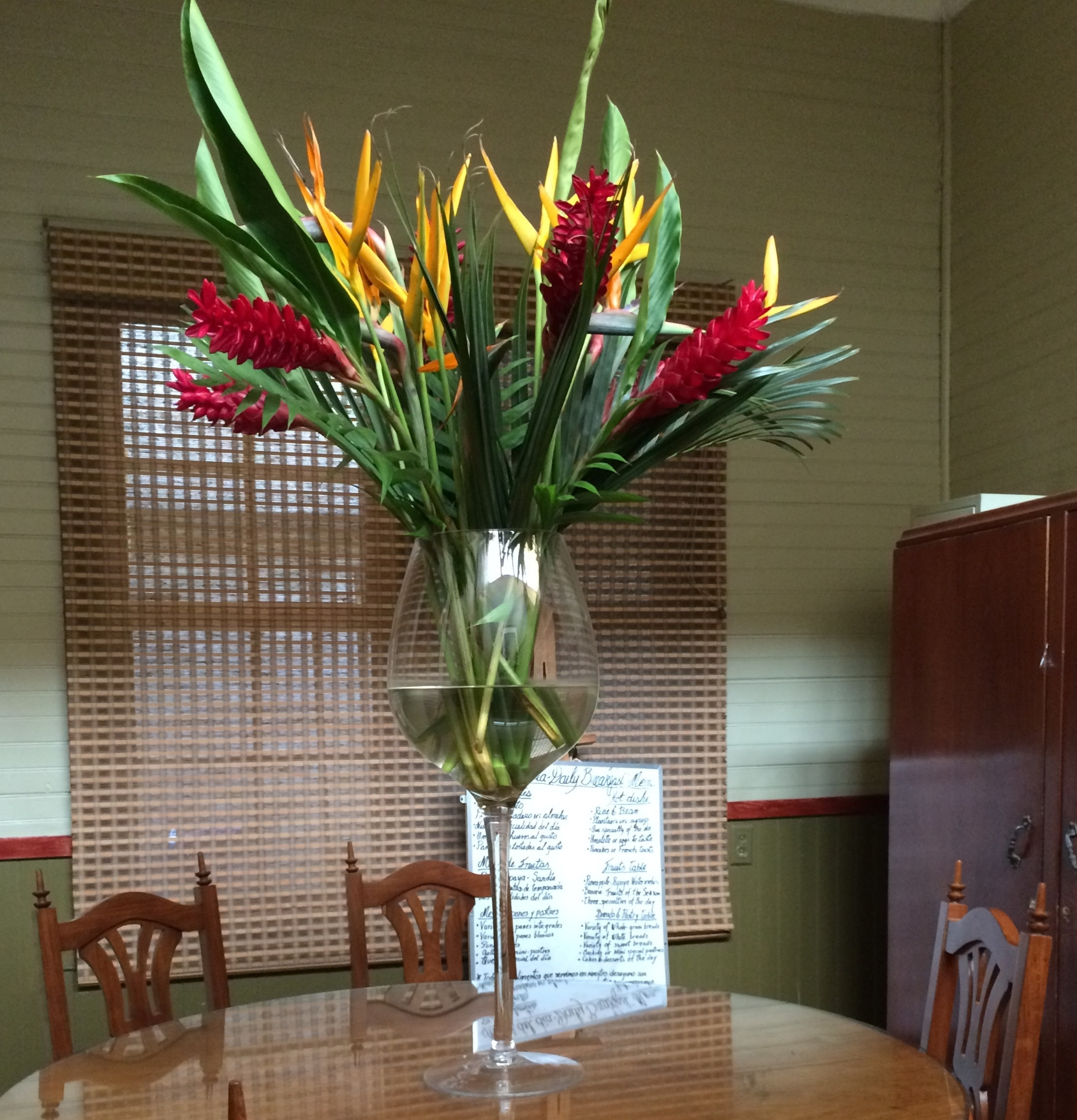Enjoying this tropical floral display, I sat here for breakfast and chatted with a couple from France