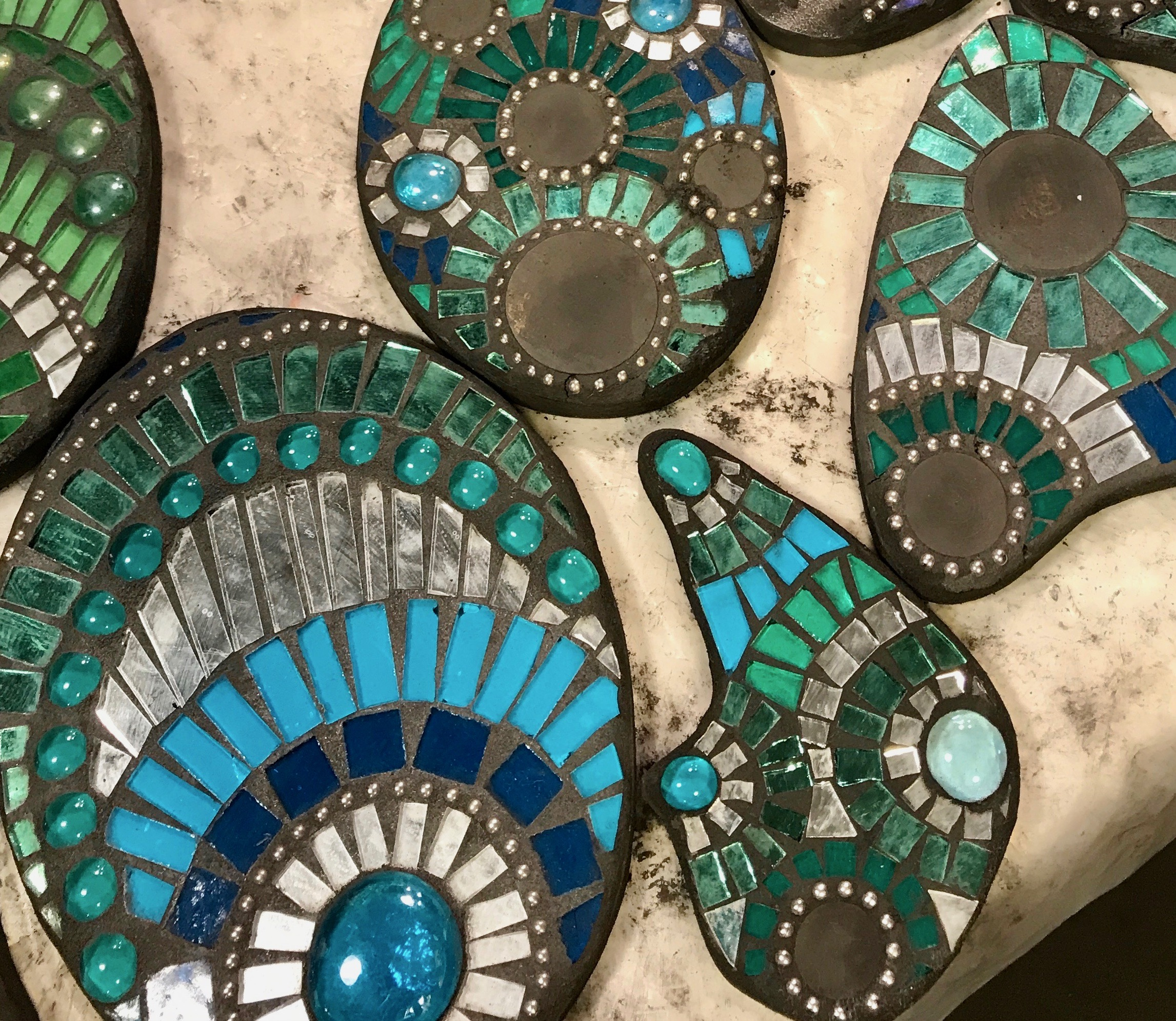 Mosaic riverstones by Marcia Joffe-Bouska.