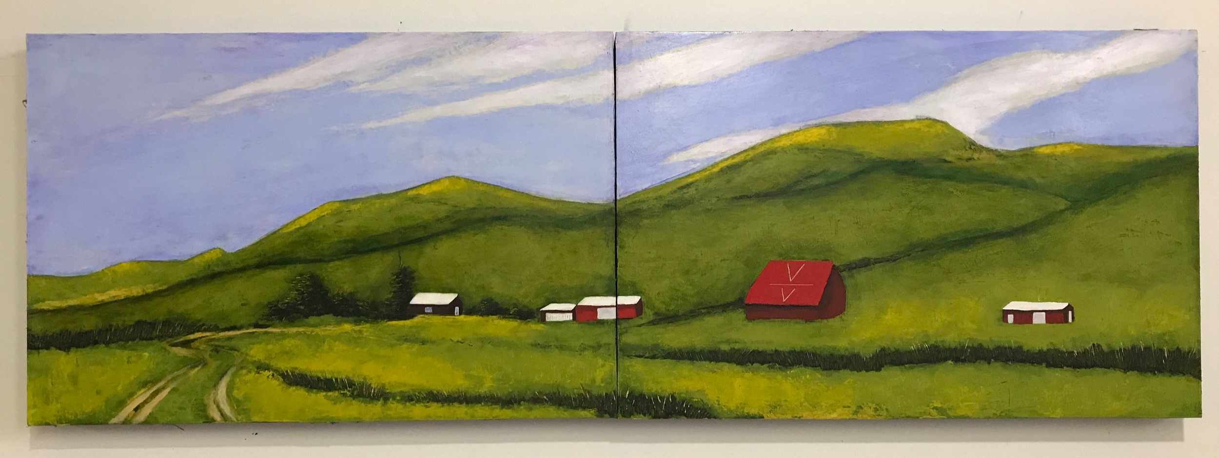 "60""x20"" painting on birch panels depicting a Nebraska Sandhills ranch home place."