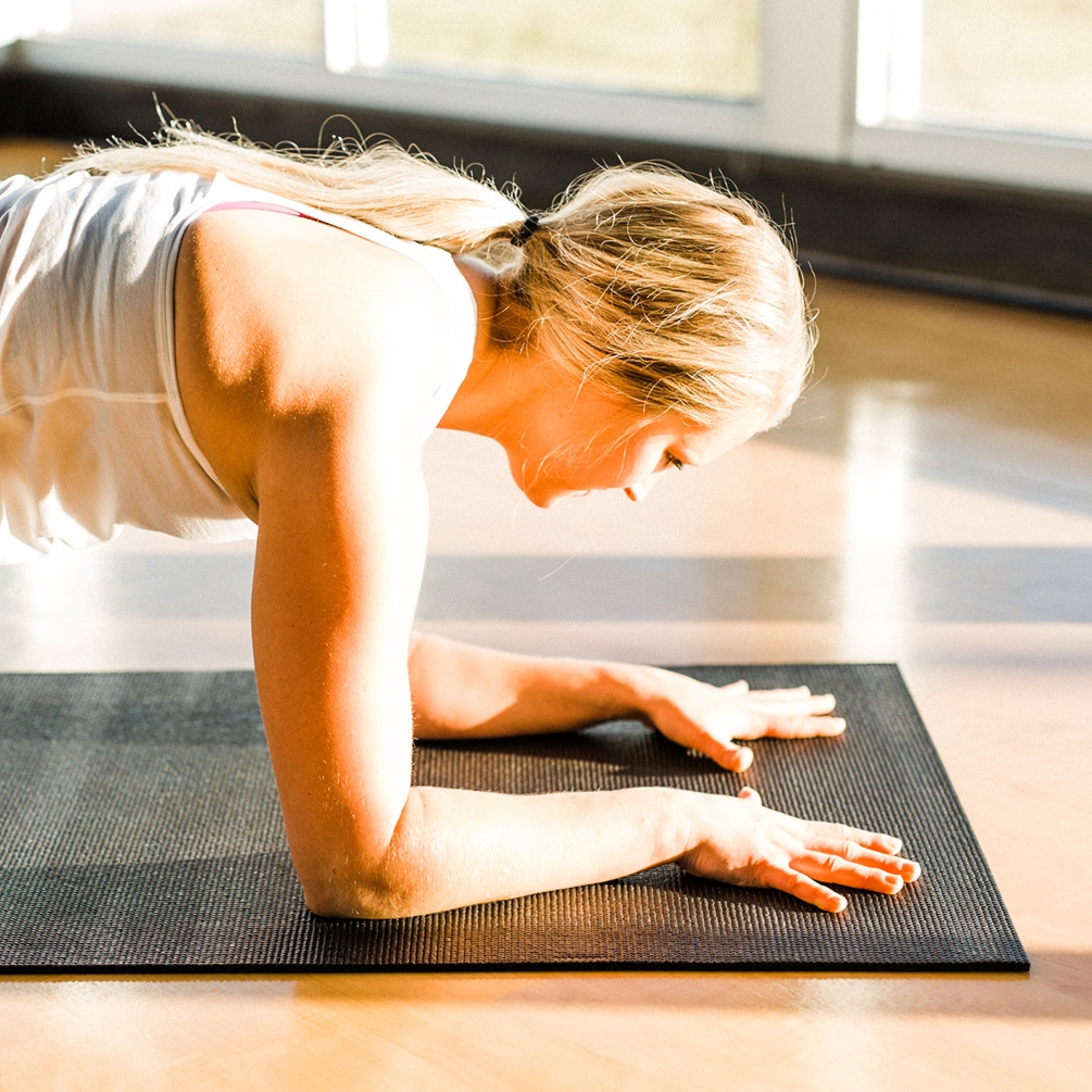 Forearm Plank - Also try forearm plank. Stack shoulder above elbows and make the number