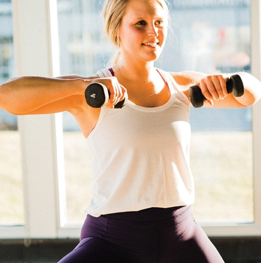 Upright Row - Extend arms out in front of you and pull back up to your chest.