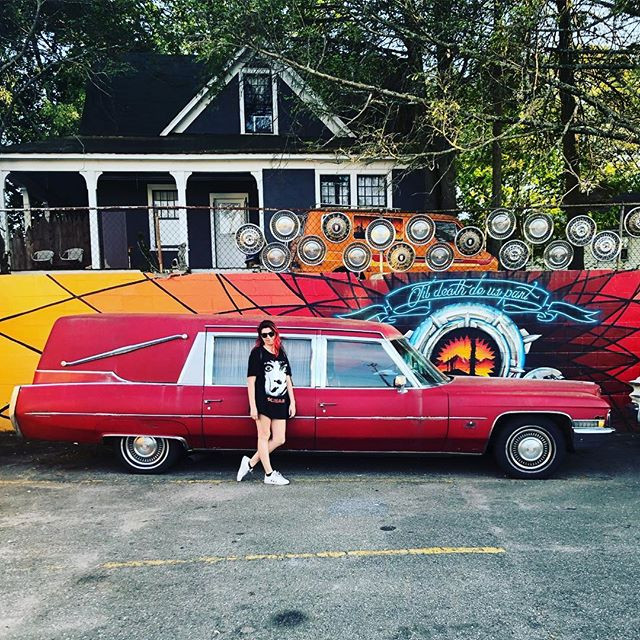 Just a girl and her deathmobile ❤️ in Asheville NC today. Can't believe there's only 2 more days of tour!!