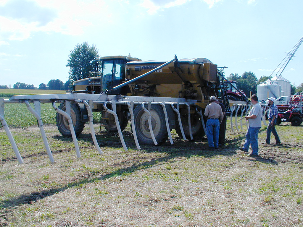 The Branton's Rogator set up for interseeding cover crops.