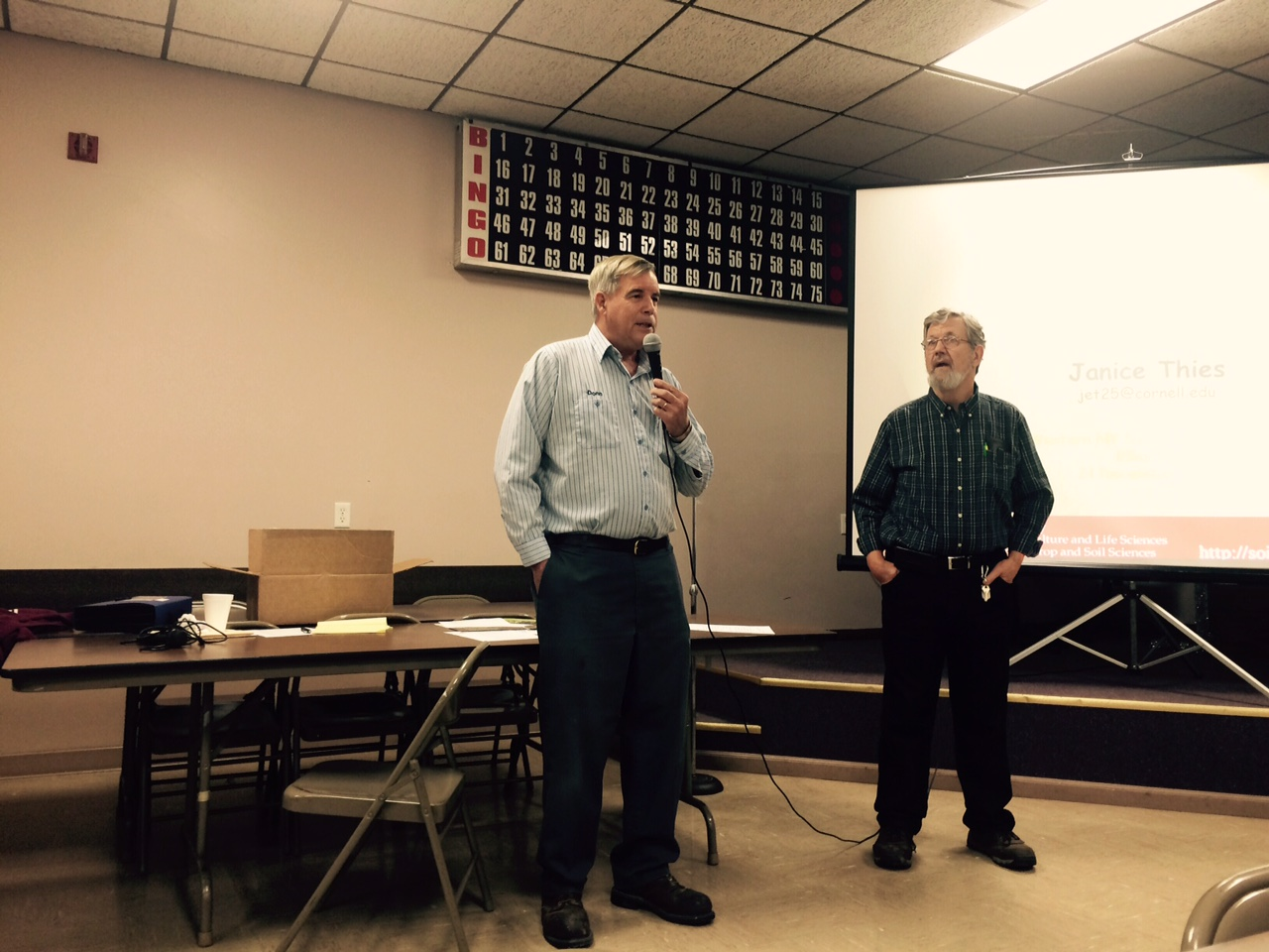 WNY Soil Health Alliance President Donn Branton, and secretary/treasurer Dennis Kirby welcome workshop attendees.