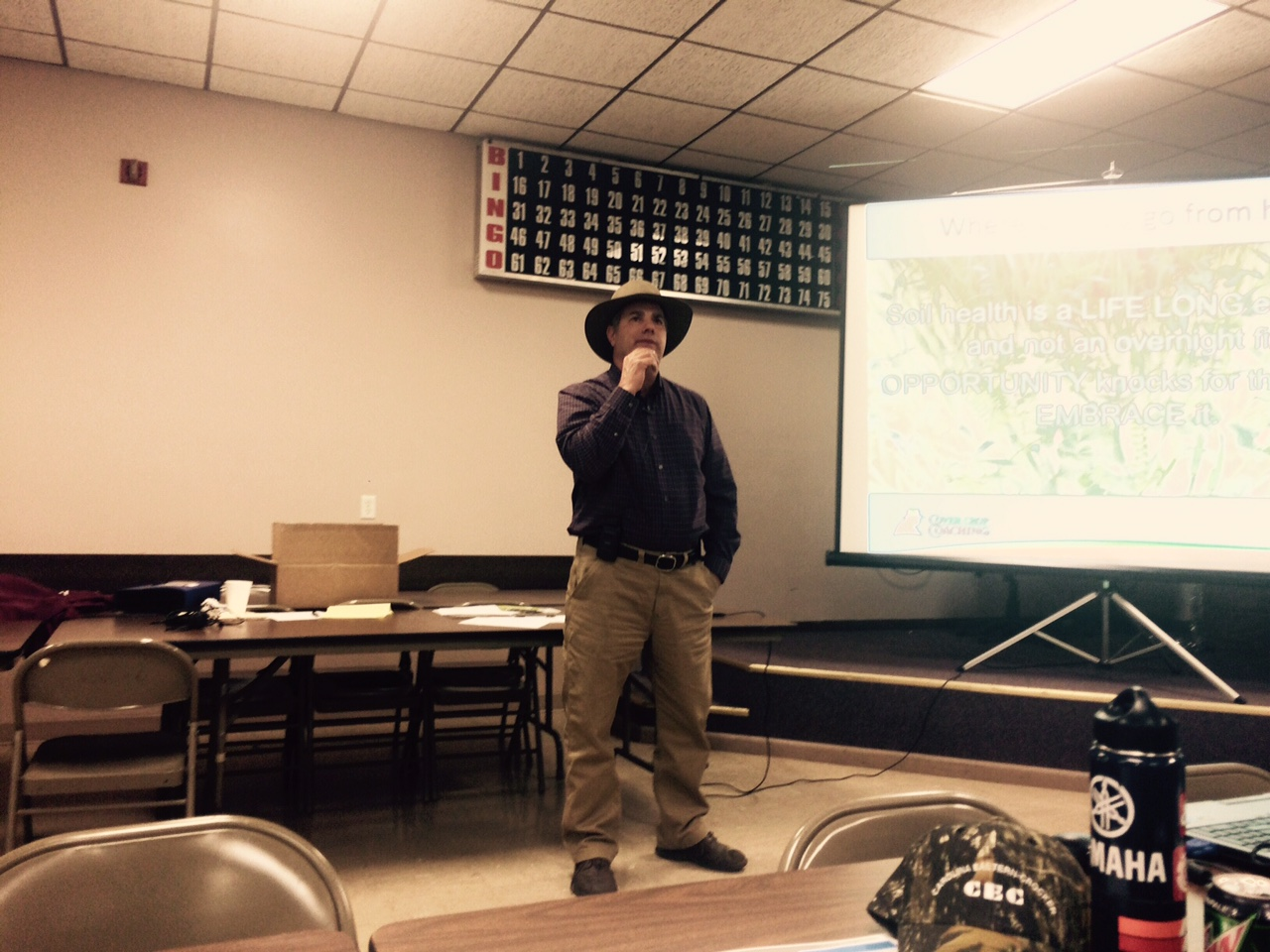 "Keynote speaker Steve Groff, farmer and owner of Cover Crop Consulting, gave two presentations, ""Making Cover Crops Pay"" and ""Strategies for Terminating Cover Crops""."