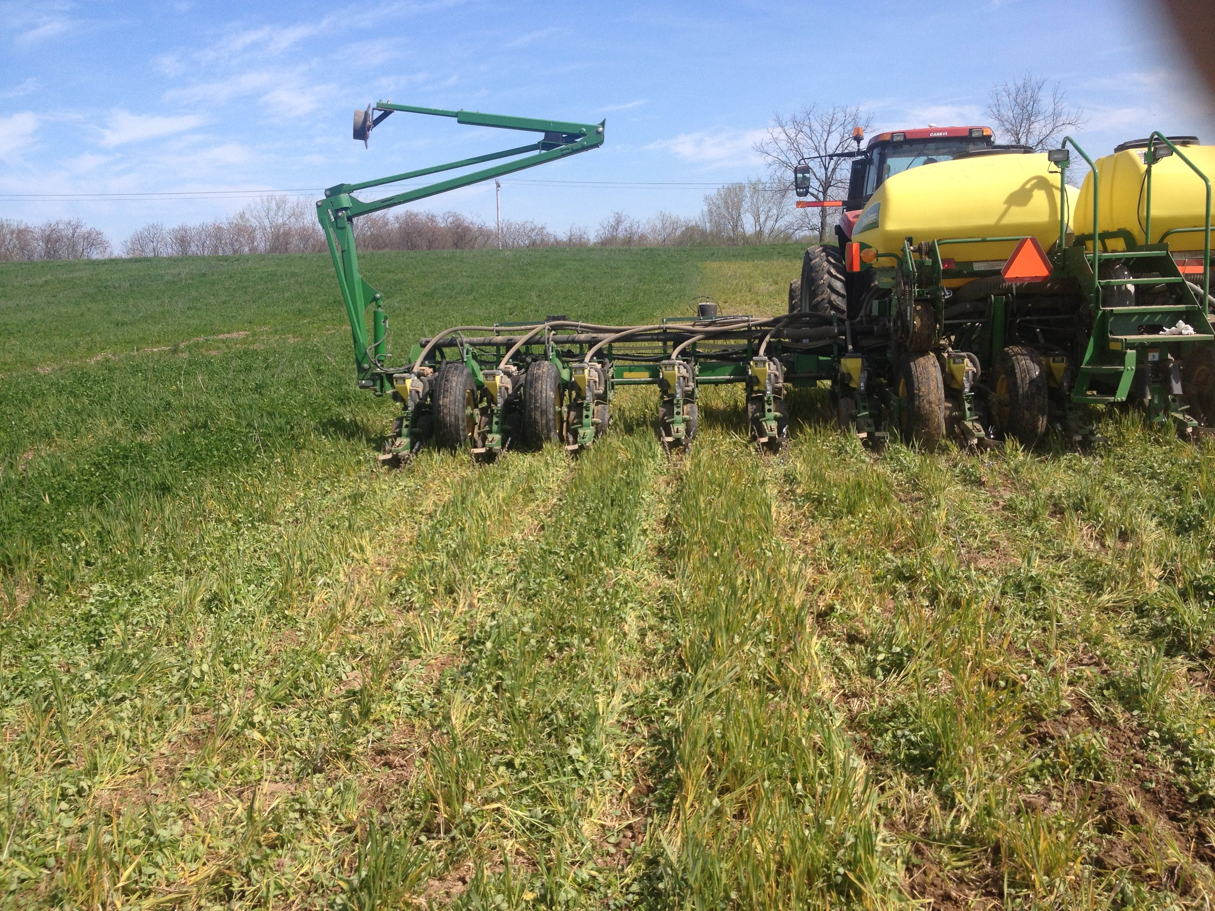 Planting green into red clover in 2016. Photo provided.