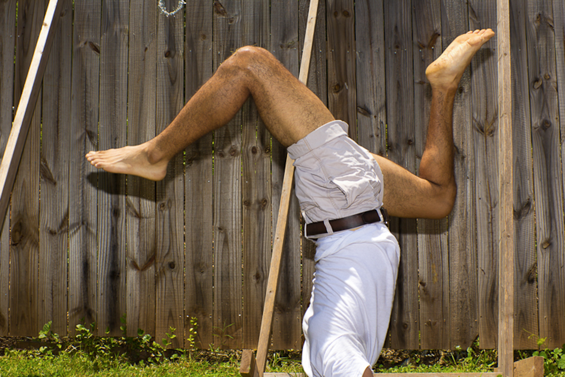 Dancer Alex Abarca in his backyard.