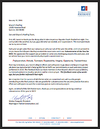 Click the image to view the letter from Washington Patriot Construction.