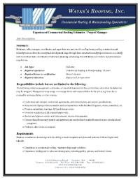 Sales / Estimator Job Description