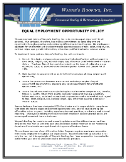 Equal Employment Opportunity Policy