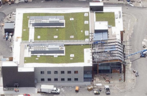 Columbia Green Plant-in-Place Tray System that Wayne's Roofing, Inc. installed on a Group Health building