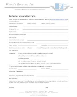 New Customer Information Sheet