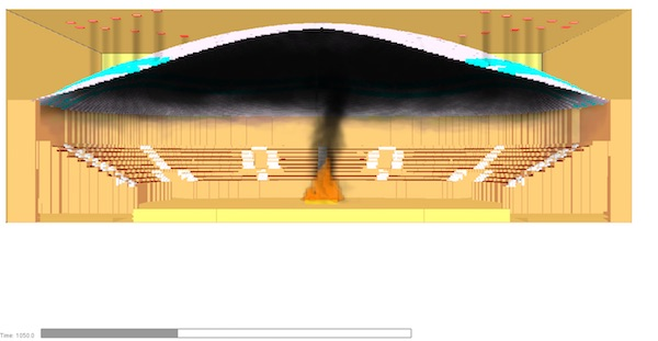 3D of sports stadium - Fire smoke Analysis