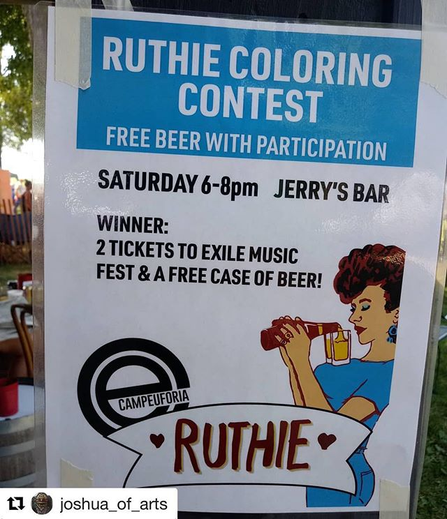 What could be better than a free cold beverage? Get your booty over to Jerry's Bar for the @exilebrewingco  coloring contest!  #Repost @joshua_of_arts with @get_repost ・・・ Free beer with participation. #freebeer #coloringcontest #campeuforia #goingforthegold #saturday