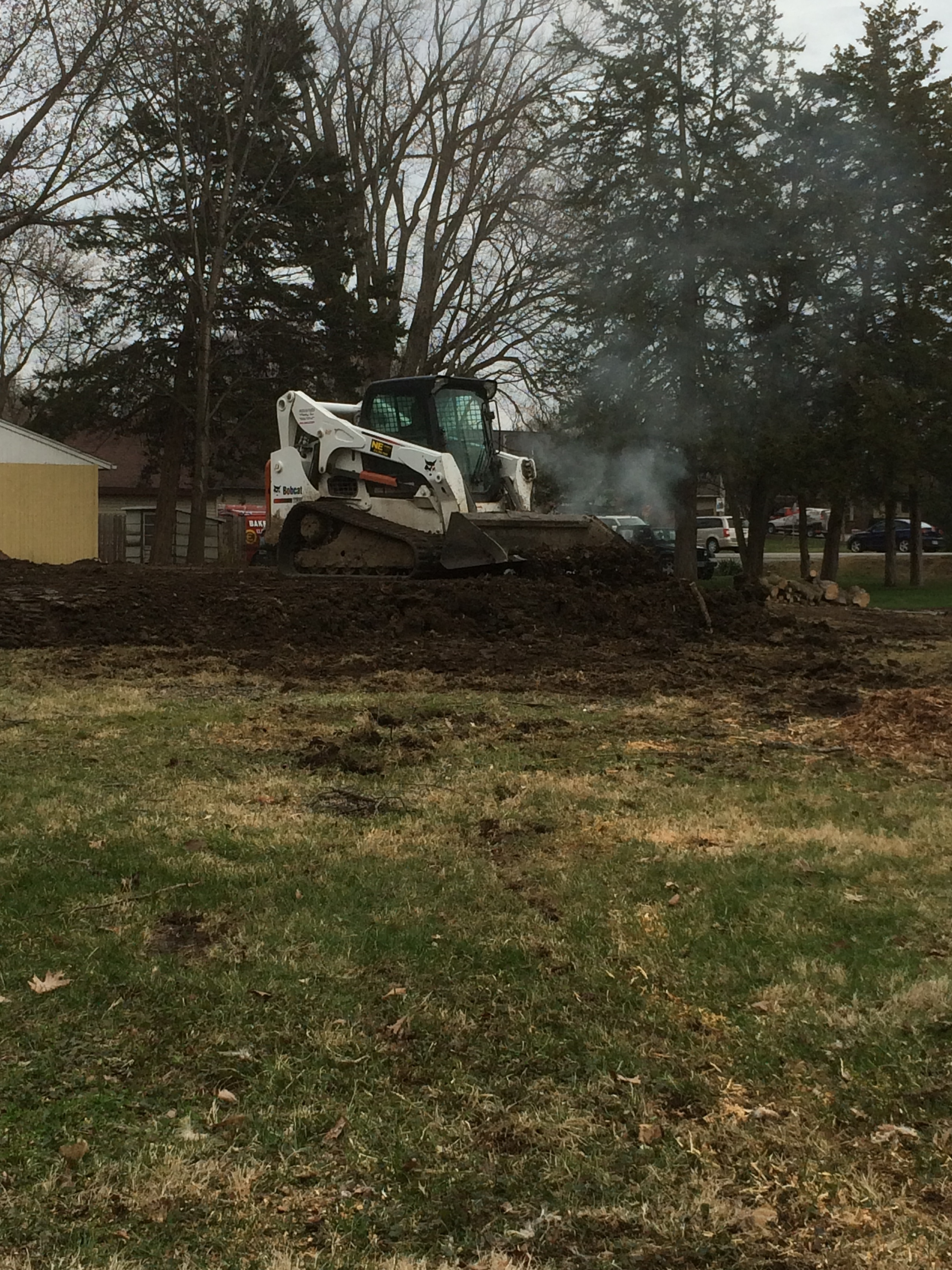 Dirt work getting done at the site of the pole barn