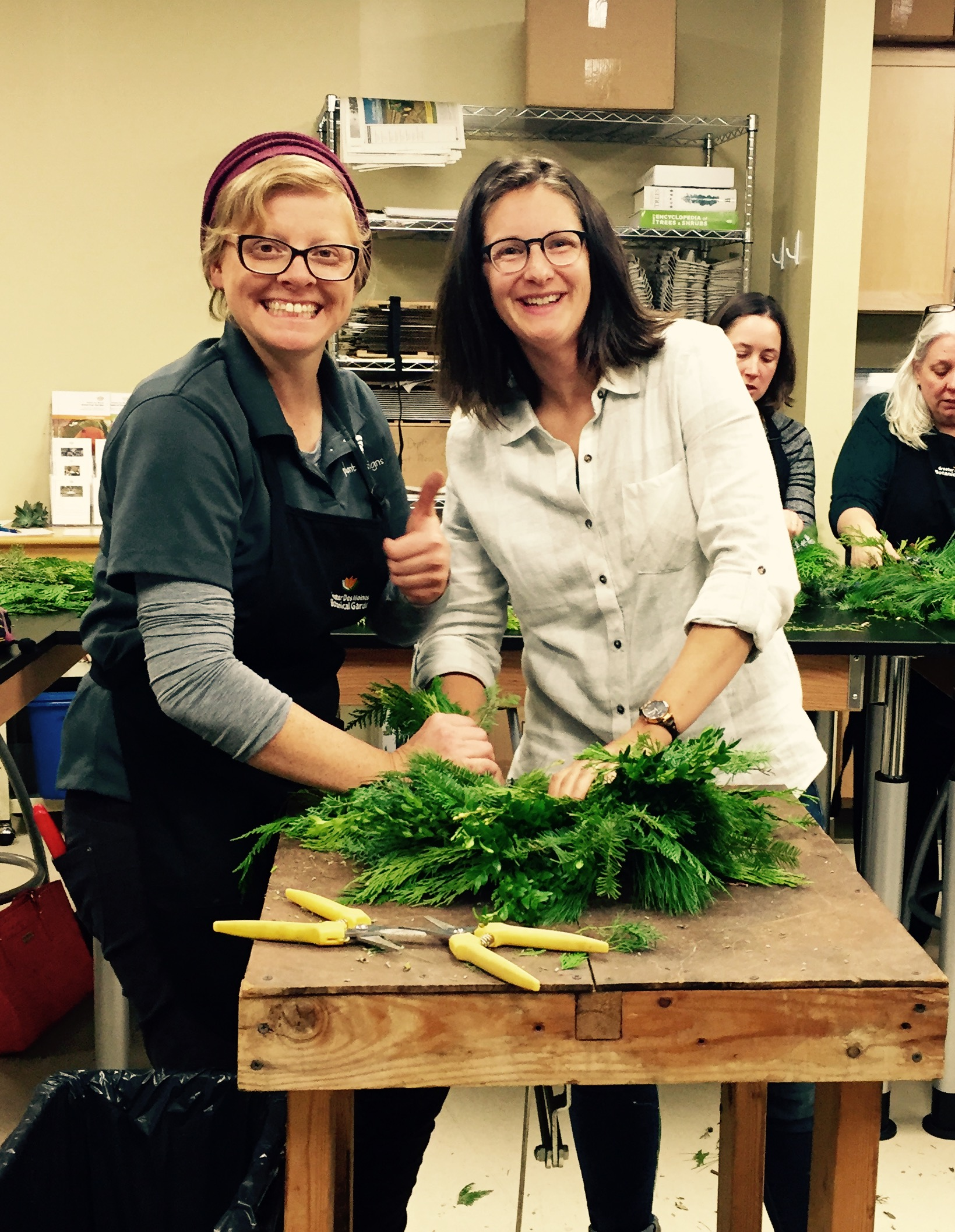 Enjoying more free time at a wreath making class at The Botanical Gardens taught by Tara from Plant Life Designs