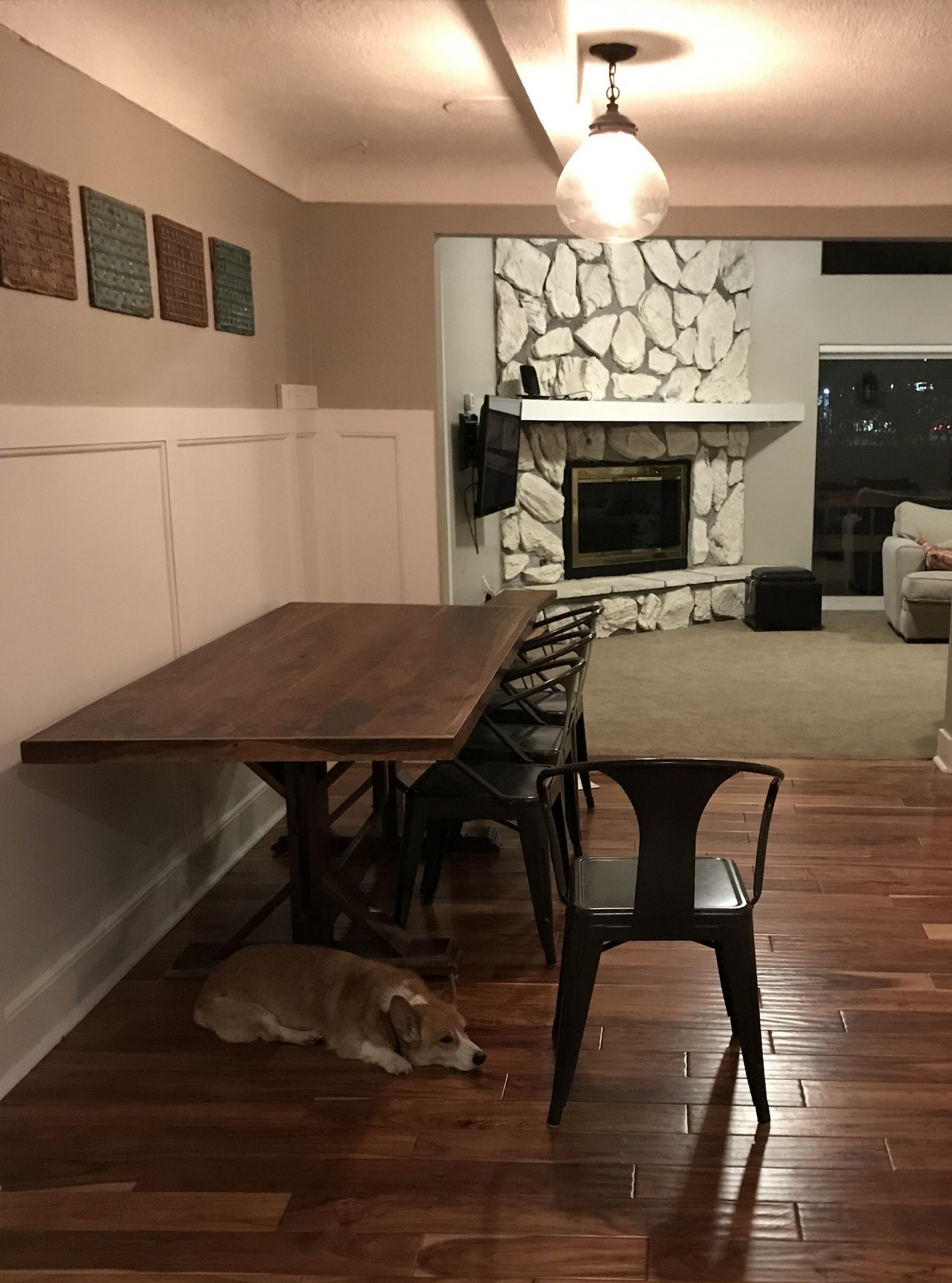 Monroe enjoying our new handmade walnut farmtable