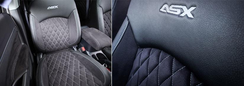 Pregiati interni sportivi  in microfibra con laterali in ecopelle, cuciture a rombi e logo personalizzato ASX sui sedili anteriori