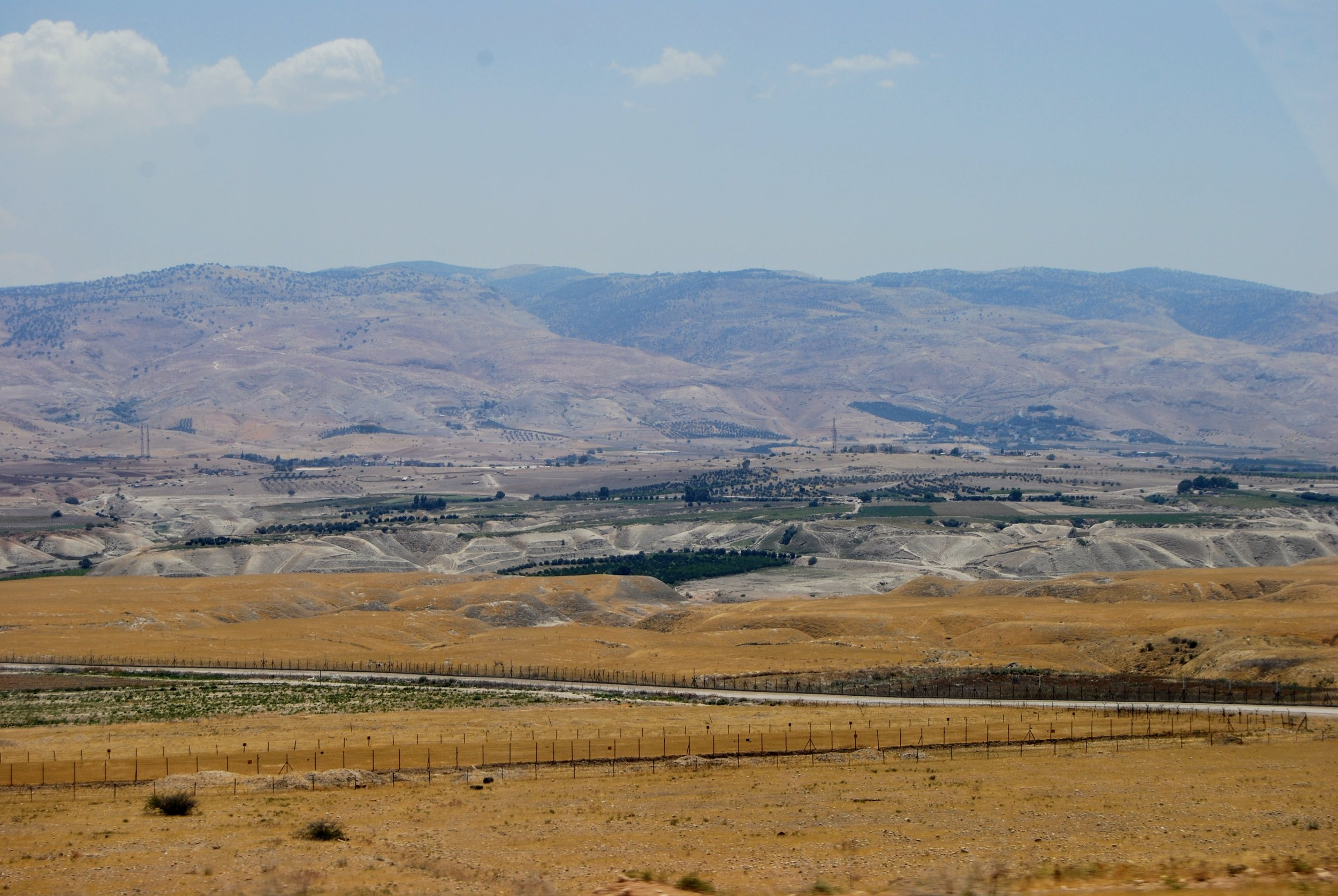Looking east across the Jordan Valley toward the Trans-Jordan Plateau.