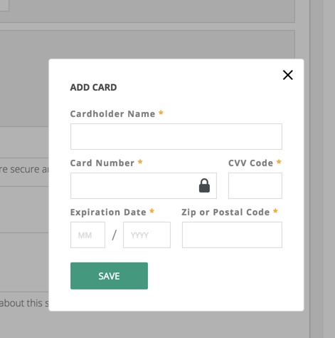 "Clicking ""Add Card"" will open this modal for credit card information"