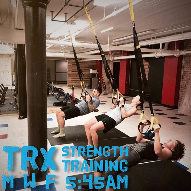 TRX Training is very low impact training method which allows people of all levels to train comfortably with less risk of causing , or agitating, a pre-existing injury.  Drop in and see for yourself every M W F morning! #trxstrengthtraining #trxstudio #rockandridewi #suspensiontraining #offseasonfitness