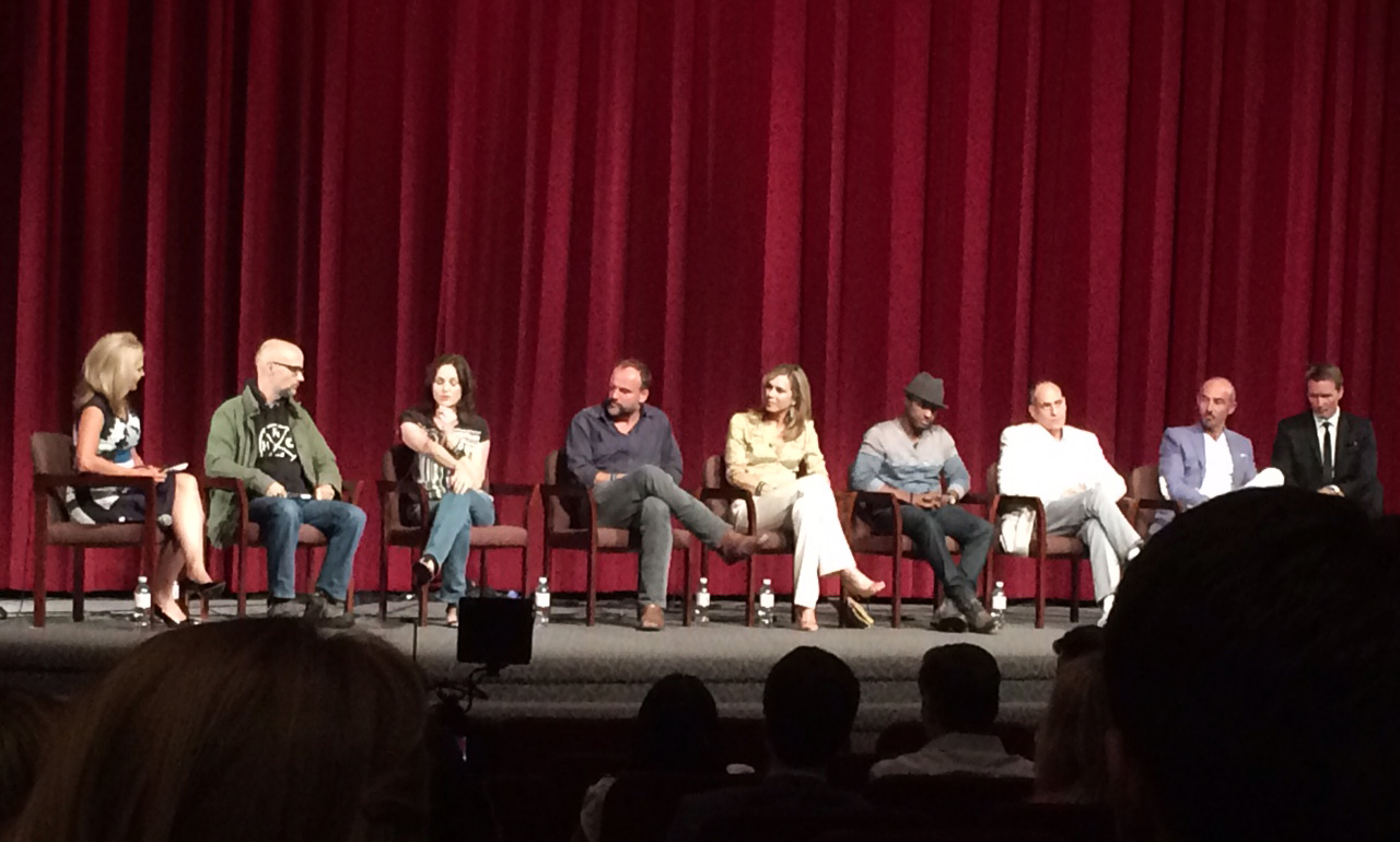 From left to right: Lisa Bloom, Moby, Jorja Fox, David Deluise, Kathy Freston, LarenzTate, Nestor Serrano, Shaun Toub and Shaun Monson