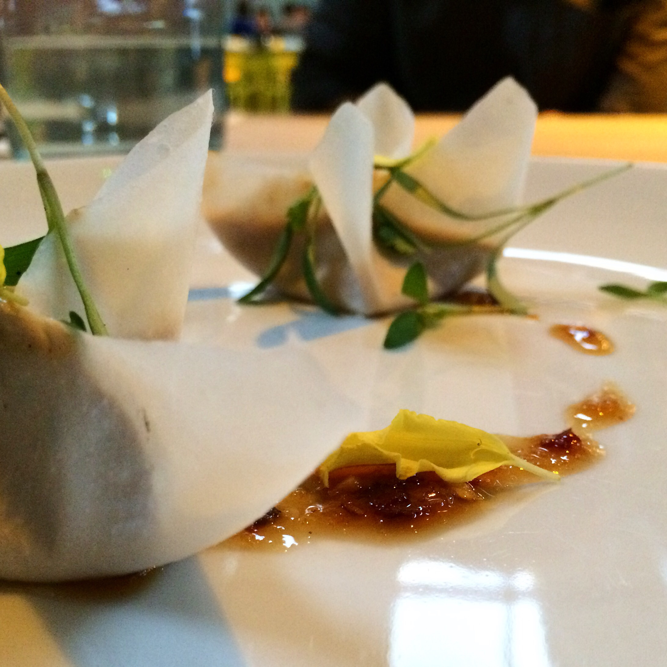 """Second Course  Rangoons  coconut wonton, """"Old Bay"""" cream cheese, bell pepper, celery, sweet chili sauce. *it contains honey so sadly I did not partake in this course."""