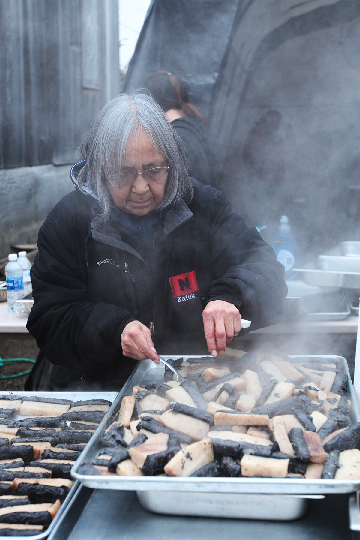 The captain's family is obligated to offer a feast to the whole town. After a catch, they will spend a day or more preparing the feast. Muktuk is a popular favorite.