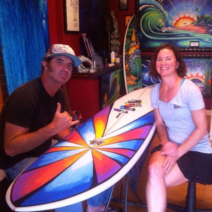 With surf artist Drew Brophy