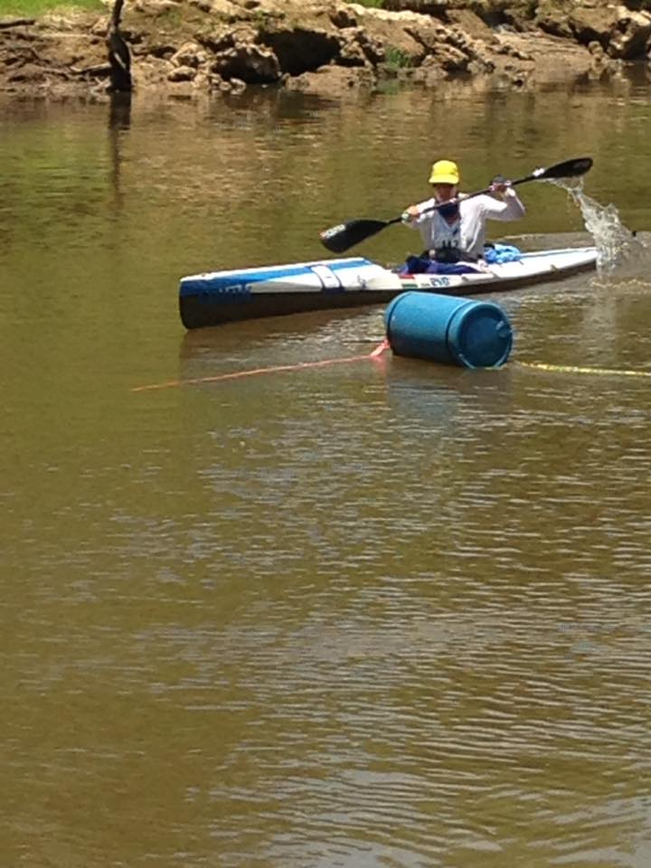 Kata on a river optimized ski with overstern rudder.