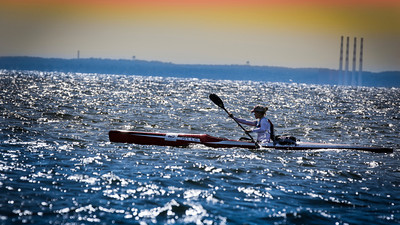 Current World Surfski Series Leader Michele Eray leading the L2L.   ---Photo Vadim Lishchuk