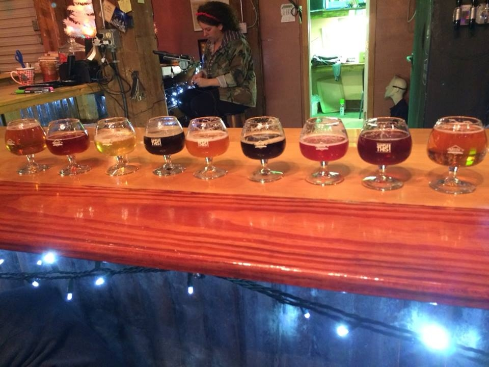 Sampler Flight at Moccasin Bend Brewing Company--Note the attentive bartender