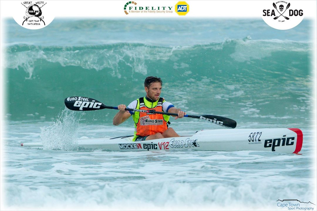 Jasper Mocke cruises over the finish line at the Great White Sport & Surf Race 1. (Photo: Cape Town Sport Photography)