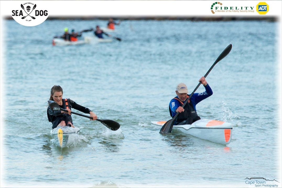 Kirsten Flanagan powers across the line at race 3 of the Fidelity ADT SeaDog Paddle Series. (Photo: Cape Town Sport Photography)