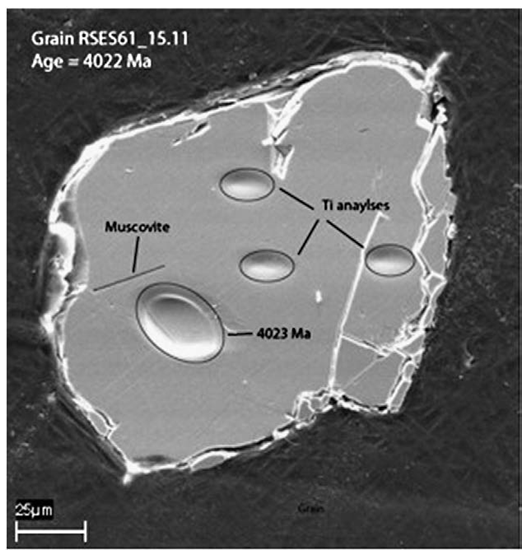 SEM image of zircon RSES61_15.11 showing high-aspect-ratio muscovite inclusion interpreted to indicate trapping of a magmatic crystal during zircon growth. Positions of U–Pb and Ti analyses also shown [Hopkins et al., 2008, 2010].