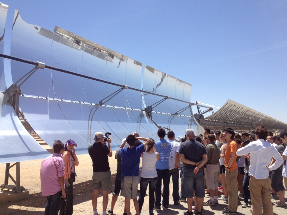 Taking UCLA students to witness some green technologies at the Solar Energy Generating Systems in the Mojave Desert.