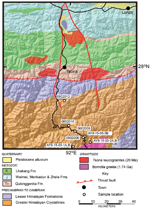 Geologic map of the 92° E transect showing sample locations in the sills and dikes of the Arunachal leucogranites and their relationship to the Tsona leucogranites further north. Geology from Pan et al. (2004).