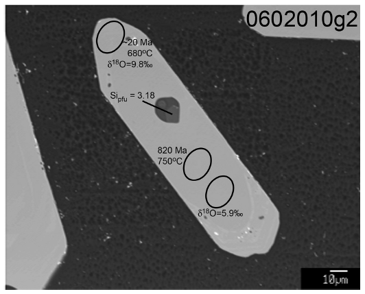 Electron micrograph of Arunachal zircon 0602010g2. Note the core/rim relationship with the younger rim exhibit the lower crystallization temperature and higher δ18O value compared with the older, higher temperature and isotopically lighter core. The muscovite inclusion exhibits a quasi-hexagonal crustal habit and coexists with feldspar. The elliptical feature in the feldspar marks the EMPA spot.
