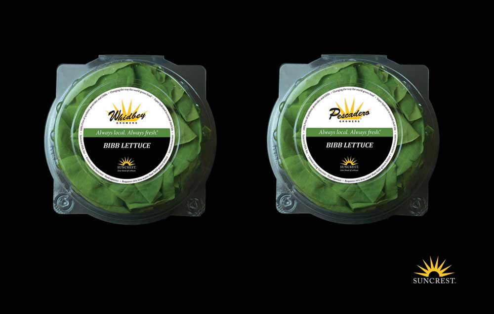 Designing two logos on the crisper label was a real challenge. After several iterations,   it became clear that the Suncrest logo worked well in reverse on the black to create a   foundation of support for the local grower's logo that is more prominent on top. Adding   the ring of copy became both a design element as well as information for the consumer.