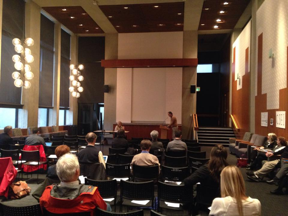 Chris Moore, the Executive Director of the Washington Trust for Historic Preservation, makes public comments at the DEIS hearing at Kane Hall on the UW Seattle campus.