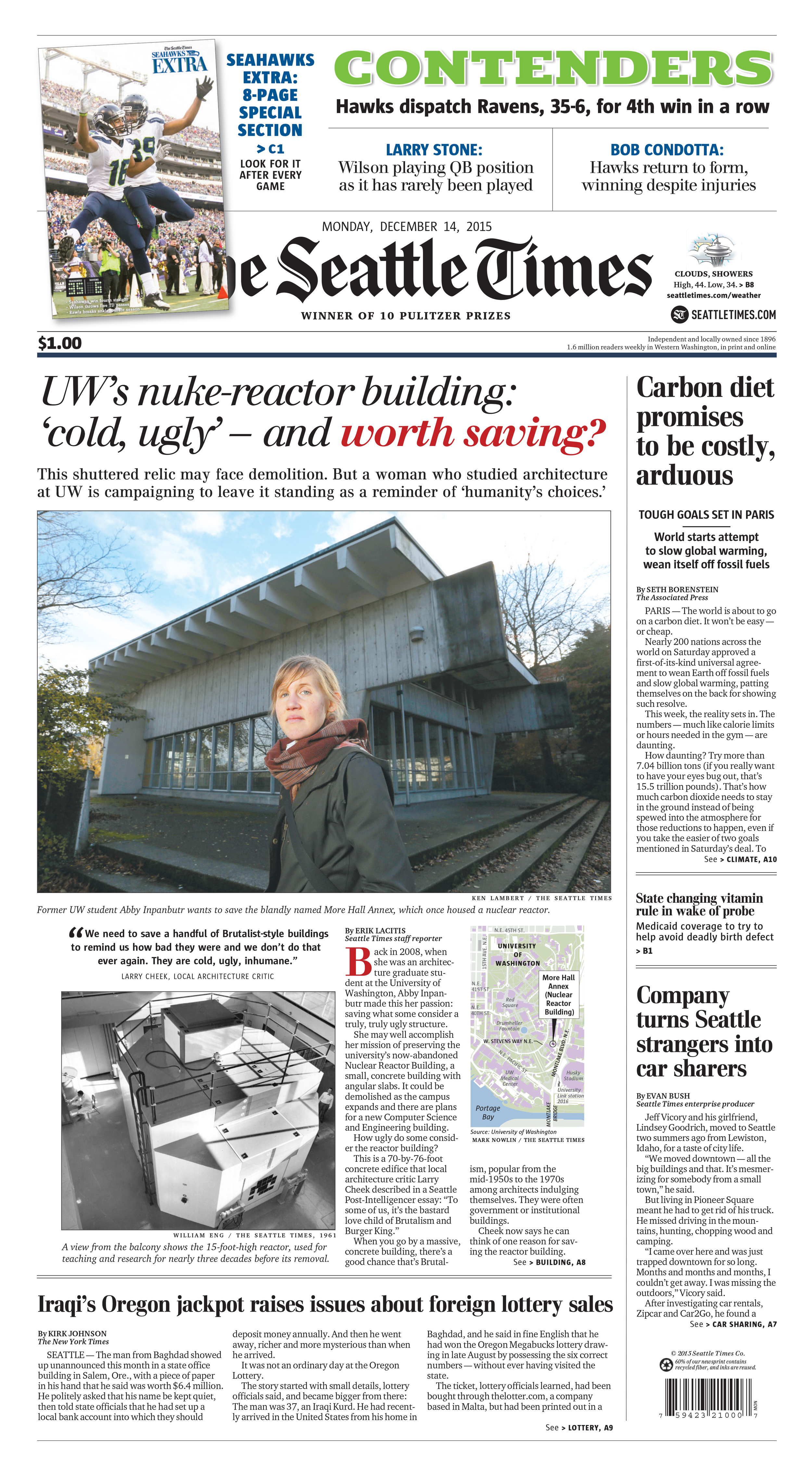 Front page of  The Seattle Times  on December 14 featuring the Nuclear Reactor Building.